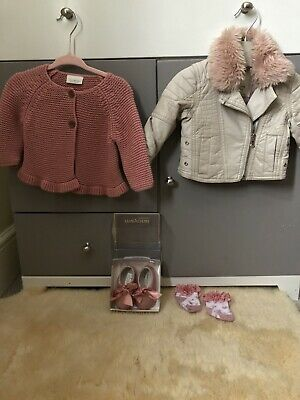 Baby Girl River Island Leather Jacket/ NEXT Cardigan/ Mayoral Shoes 0-3 Months • 15£
