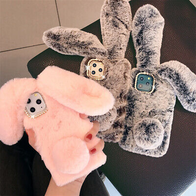For IPhone 11Pro Max XR XS 8 7 6s Plus Rabbit Bunny Ear Fluffy Phone Case Cover • 3.99£