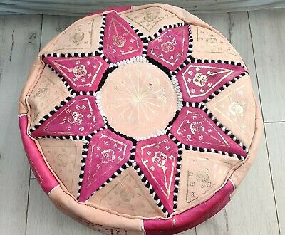 HANDMADE LEATHER MOROCCAN POUFFE - Pink & White • 38.95£