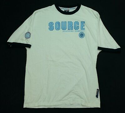 AU26.90 • Buy Rare Vintage THE SOURCE Clothing Company Spell Out Ringer T Shirt 90s 2000s XL