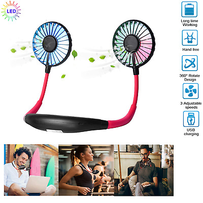 AU16.45 • Buy Sports Fan LED Silence Travel Hanging USB Charging Lazy Neck Portable Gifts