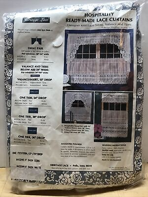 "Heritage Lace Hospitality 12"" / 24"" Drop White Festoon Curtain New VTG • 14.84£"