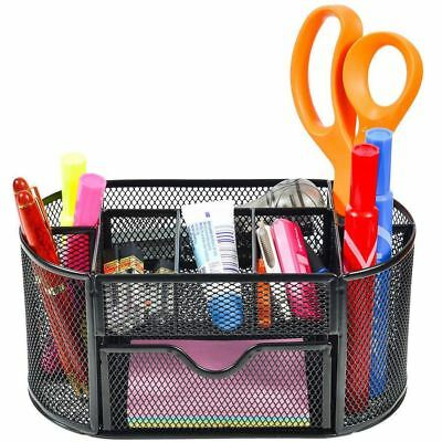 AU18.99 • Buy Metal Desk Mesh Organizer Office Pen Stationery Tool Holder Tray  With Drawer