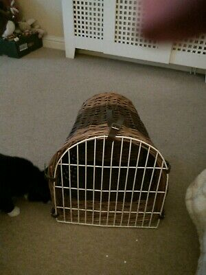 Vintage Wicker Cat  Small Dog Basket Carrier Bed Leather Straps • 25£