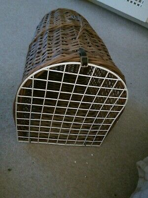 Vintage Wicker Cat  Small Dog Basket Carrier Bed With Leather Strap • 25£