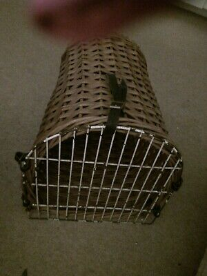 Vintage Wicker Cat  Small Dog Basket Carrier Bed With Leather Straps • 20£