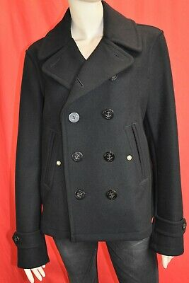 $695 • Buy Nwt Burberry Brit Swiftsure Black Wool Logo Buttons Double Breasted Coat M
