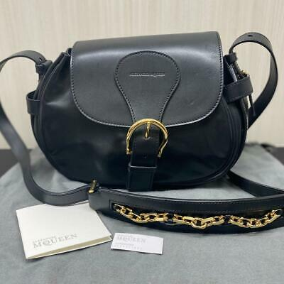 AU596.44 • Buy Alexander McQueen Leather Shoulder Bag Mini Size Black Gold Chain Genuine New