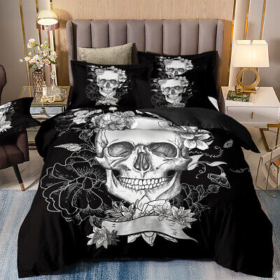 White Skull Duvet Quilt Cover Gothic Bedding Set Pillow Cases Single Double King • 26.99£