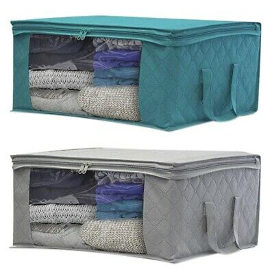 Foldable Canvas Clothes Basket Storage Underbed Wardrobe Collapsible Folding Box • 6.99£