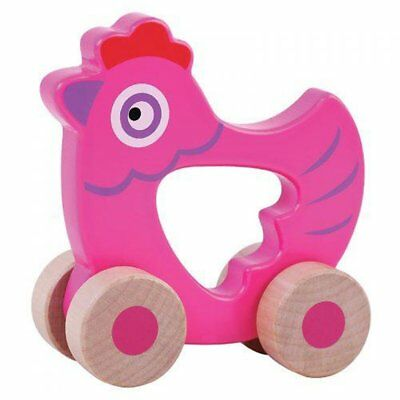 JUMINI Wooden Toys PUSH ALONG FRIENDS - HEN Easy To Hold For Ages 6 Months+ • 7.49£