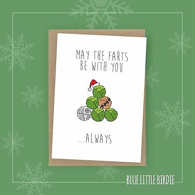 Star Wars - Christmas Card - May The Farts Be With You - Chewbacca - Death Star • 3.75£