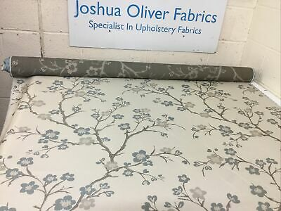 8m Roll End, Taupe & Duck Egg Floral Furnishings Fabric, Free P&P • 40£