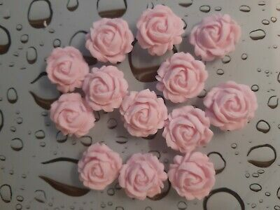 12 Baby Pink 3D Rose Flowers  Edible Cake Toppers Wedding Cake Decoration • 1.99£