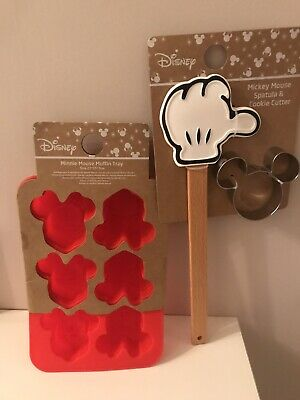 Disney Minnie Mouse Muffin Tray & Mickey Mouse Spatula & Cookie Cutter New Gift • 15£