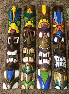 TIKI Mask Wooden Wall Plaque 100cm Carved Painted Choice Of 5 • 36£