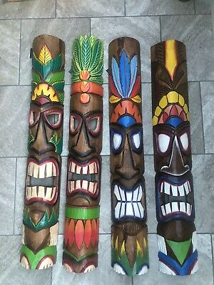 2 X TIKI Mask Wooden Wall Plaque 100cm Carved Hand Painted Unique Choice Of 4 • 68£