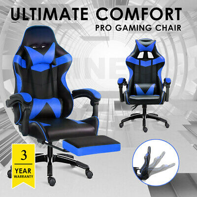 AU158 • Buy Gaming Chair Office Seating Racing PU Leather Executive Racer Footrest Blue