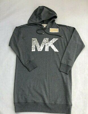 $ CDN126.86 • Buy NWT Women's Michael Kors Logo Hoodie Dress Sweatshirt Hooded MK Sequin Gray M