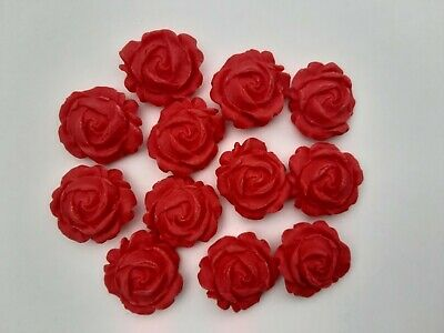 12 Red 3D Rose Flowers  Edible Cake Toppers Wedding Cake Decoration • 1.99£