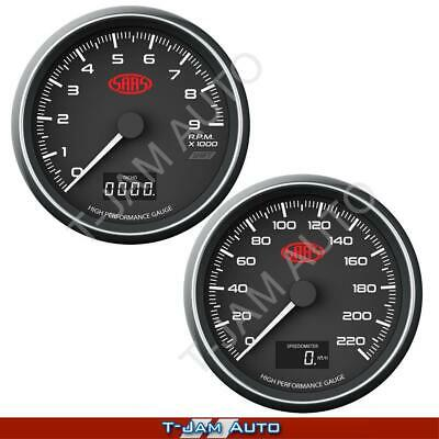 AU274.95 • Buy SAAS Speedometer + Tachometer 3 1/2  89mm In Dash Black Muscle Series