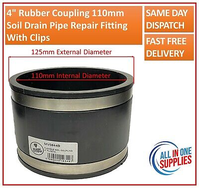 4  Rubber Coupling 110mm Soil Drain Pipe Repair Fitting With Clips • 8.30£