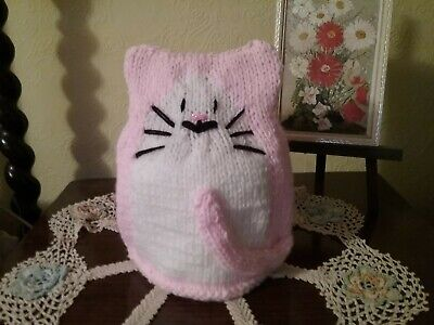 New Hand Knitted Pink Kitty Cat Toilet Roll Cover • 6.50£