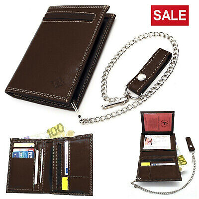 Mens Biker Leather Wallet With Coin Pocket Safety Metal Chain Purse Pouch BROWN • 9.99£