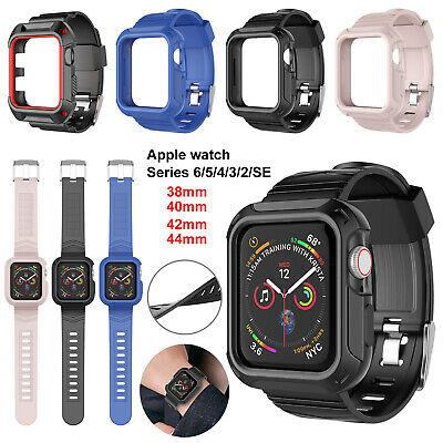 $ CDN9.82 • Buy Apple Watch Series 6 SE 5 4 3 Case With Silicone Band Strap 42/38/40/44mm Cover