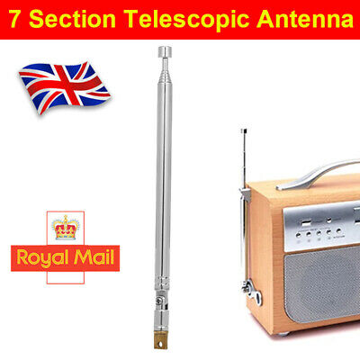 7 Section 174-770mm Telescopic Aerial Antenna For TV Radio DAB AM/FM Replacement • 4.98£
