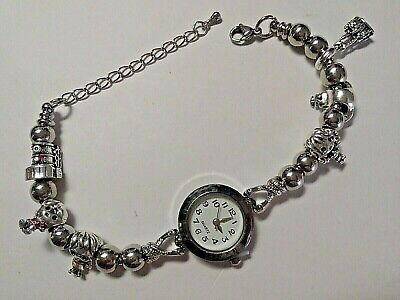 £10.99 • Buy Handmade Silver HARRY POTTER Themed Charm Bracelet Watch With 6 SILVER Charms