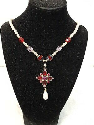 Lovely Past Times Medieval Jewellery Necklace Faux Pearl, Garnet & Amethyst • 20£