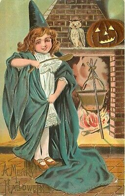 $ CDN19.59 • Buy Merry Halloween - Girl Witch Brews Over Fire - Vintage Embossed Holiday Postcard