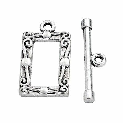 £0.99 • Buy ❤ 10 Sets ANTIQUE Silver Tone RECTANGLE TOGGLE Clasps 20mm Jewellery Making ❤