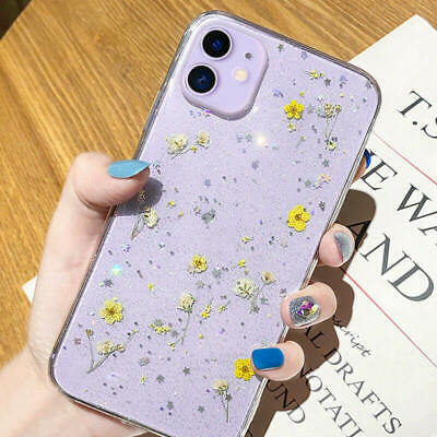 AU12.72 • Buy Glitter Cute Case For IPhone 12 Pro Max 12 Mini 11 Pro XS 7 8+ Real Dried Flower