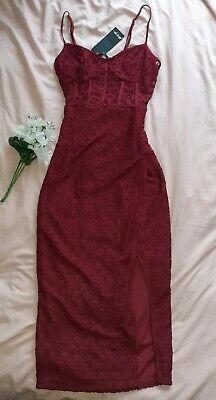 Burgendy Red Lace Corset Top Nasty Gal Y2k 90s 00s Size 8 Dress  • 7£