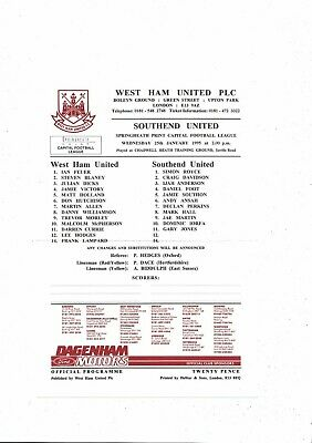 West Ham United V Southend United Capital League Football Programme 1994/95 • 3£