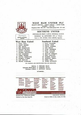West Ham United V Southend United Capital League Football Programme 1995/96 • 3£