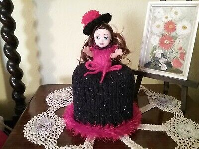 Goth Girl New Hand Knitted Doll Toilet Roll Cover • 7.50£