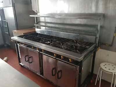6ft Stainless Steel Commercial 10 Gas Burner Oven With Stainless Steel Shelves • 899.99£