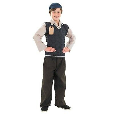 Kids Evacuee School Boy Costume Childrens WW2 Historical War Outfit - Large L • 44.39£