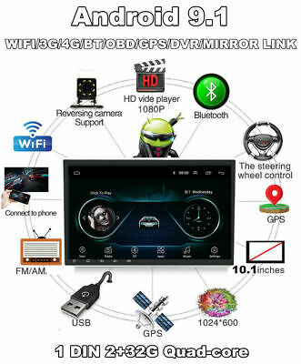 $199.99 • Buy 10.1'' 1DIN Rotatable Android 9.1 Wifi 2G+16G Car Stereo Audio Radio GPS Player