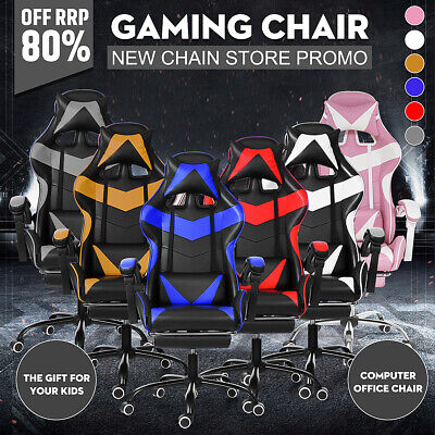AU135.99 • Buy Ergonomic Gaming Office Chair Executive Footrest Racer Computer Seat PU Leather