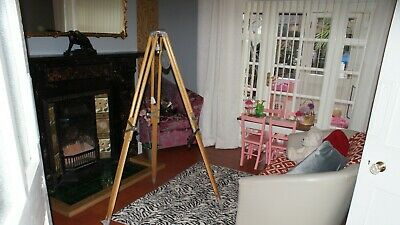 PERIOD Vintage 1950s 1960s Wood & Alloy Tripod Wooden Legs (Lamp Stand Surveyors • 200£