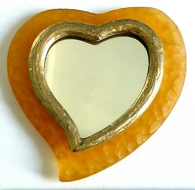 A Vintage Yves Saint Laurent Heart Shaped Hand Mirror • 28£