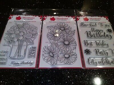 Woodware Set Of 3 Clear Stamps A6- New  • 5.90£