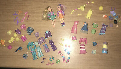 Polly Pocket Dress Up Dolls Rubber Clothes Shoes Fashion Dresses Shirts Wigs • 16.95£