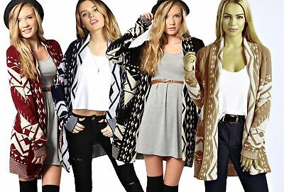 New Ladies Open Front Long Sleeve Chunky Knitted Aztec Patterned Cardigan Top • 9.99£