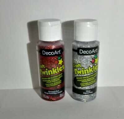 DecoArt Craft Twinkles Glitter Paint X 2 -  1 Christmas Red + 1 Choose Your Own  • 9.75£