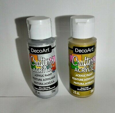 DecoArt Crafters Acrylic Paint 59ml Bottles - 1 X Silver Morning + 1 X Spun Gold • 7.95£